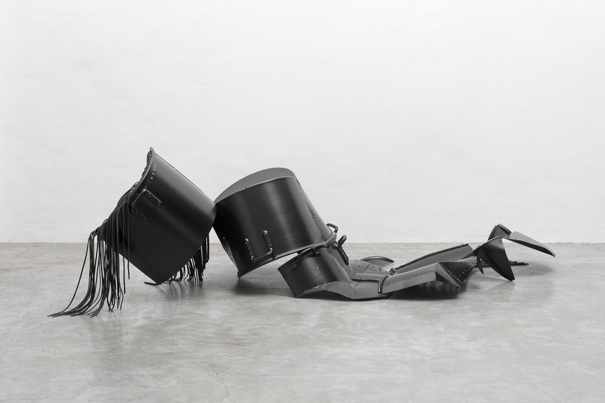 Untitled, 2018, pots, leather, 255x120x70 cm