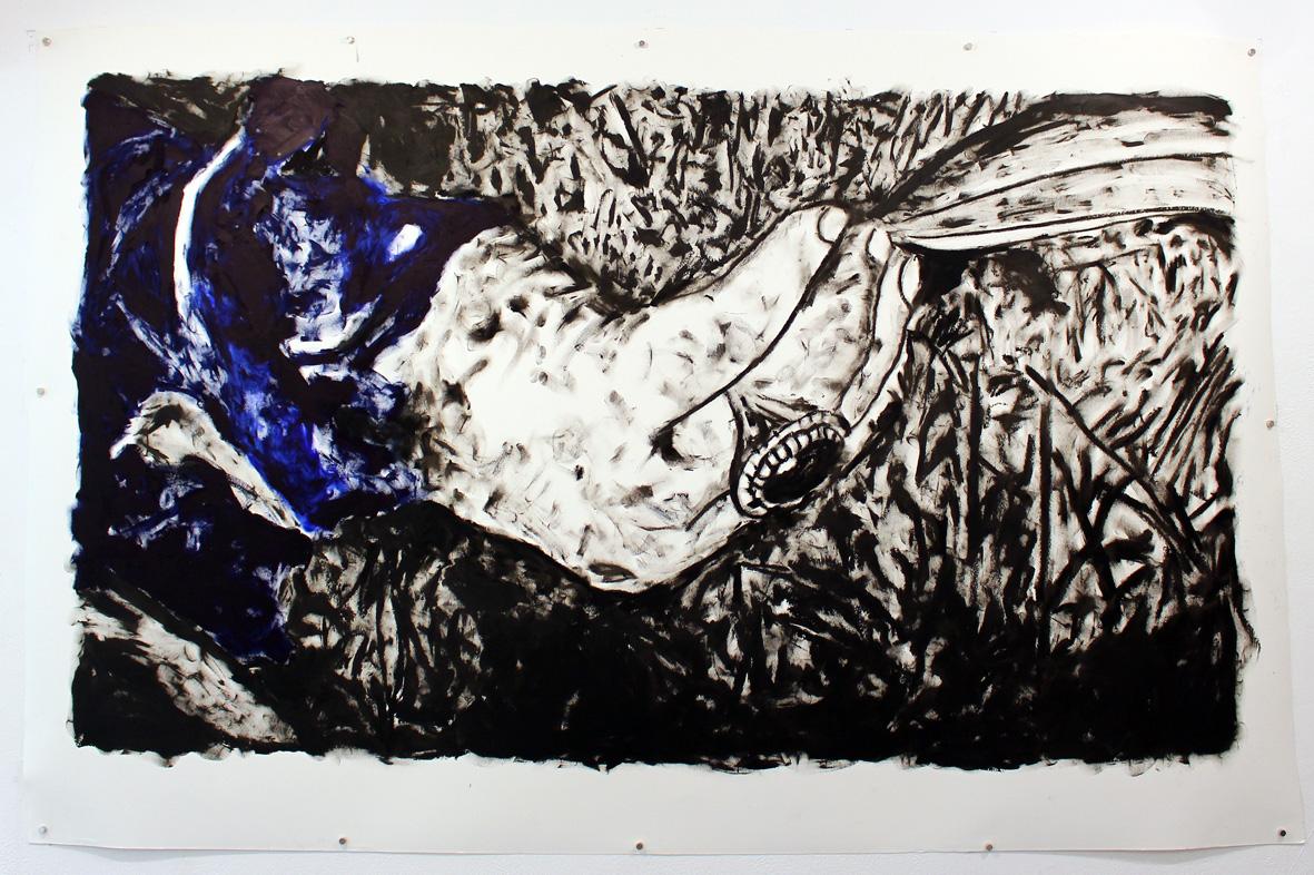 Udi Charka, Soleimani, 2020, oil on paper, 167 x 107 cm