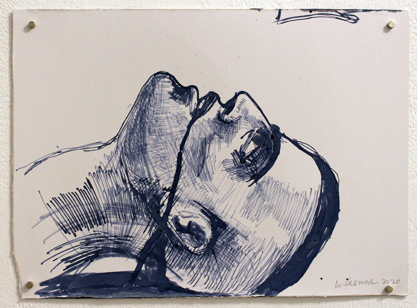 Gabriel Klasmer, Abdel Fattah al-Sharif, 2020, preparation drawings for a sculpture, ink and pencil on paper, varied sizes