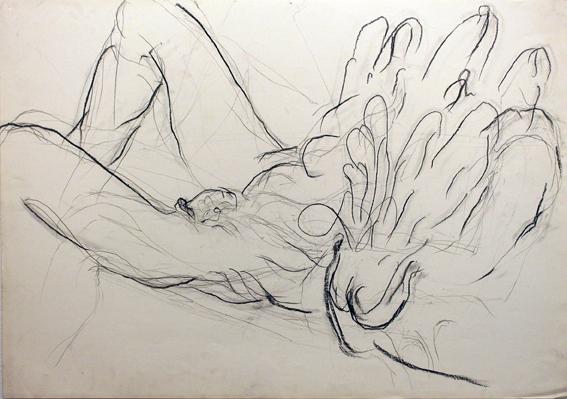 Moshe Gershuni, Unitled, 1984, mixed media on paper,70x100 cm