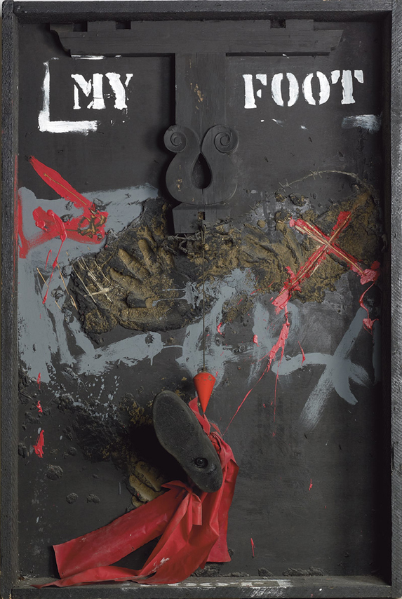 Igael Tumarkin, My Foot, 1987, mixed media on wooden box, 127 x 85 x 25 cm