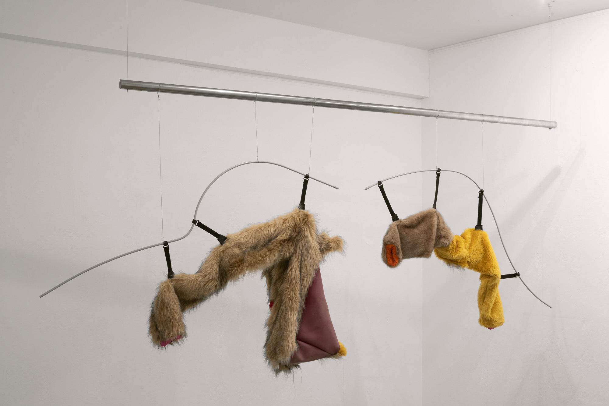 Tent (detail), 2019-2020, fur coats, sportswear, tent, latex, stainless steel, paint, steel cable